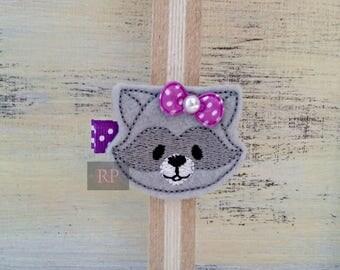 Felt Raccoon on Alligator Clip - Animal Clip - Zoo Pet Woodland Embroidered Felt - Hair Clip