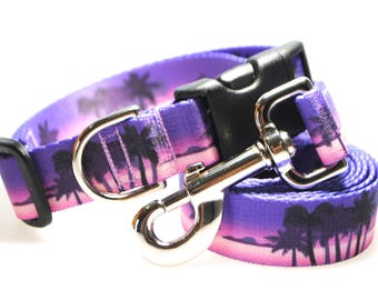 "California Dreaming Purple Collar and Leash Combination - 1"" Width"