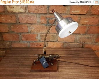 ON SALE Mid Century Desk Lamp Pointer Dog Goose Neck With Light Diffuser Wood Base