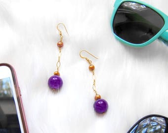 Amethyst Drop Earrings Golden Pearls Dangle Earrings Christmas Gifts For Her