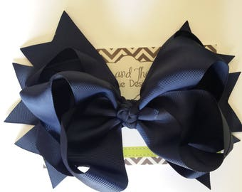 """SALE!! Jumbo Large 8"""" Navy Blue Boutique Hair Bow"""
