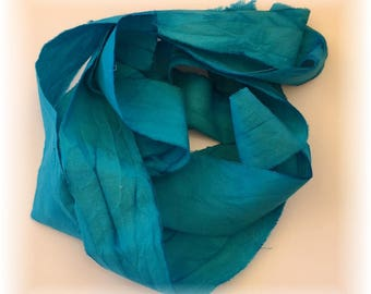 Hand Dyed Cotton Ribbon / Seam Binding 2 Yards Teal