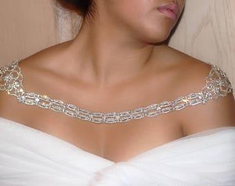 Crystal Shoulder necklace, Shoulder Jewelry, Silver Shoulder Necklace, Bridal Shoulder Necklace Jewelry, Shoulder Piece,  Crystal Bolero