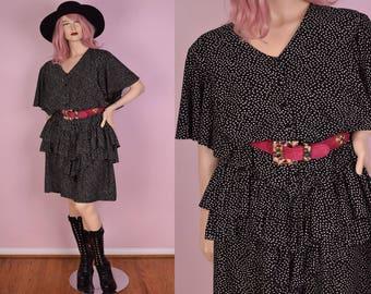 80s Black and White Polka Dot Ruffled Dress/ XXXL/ 1980s