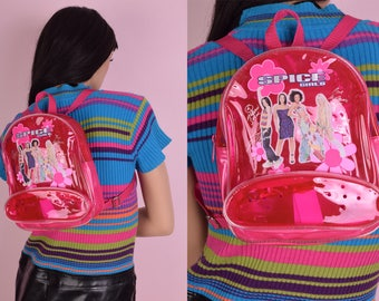 90s Deadstock Spice Girls Mini Backpack/ 1990s/ Rave/ Vinyl/ Clear/ Pink