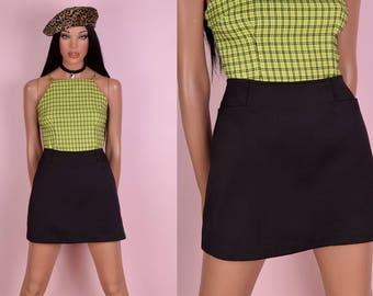 90s Black A-line Skirt/ Medium/ 1990s