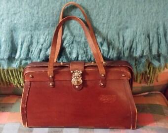 Brown Leather Handbag, Vintage Leather Handbag, Hardframe Handbag, Vintage Purse, Leather Purse, Brown Purse, Brown Bag, Zenith Purse