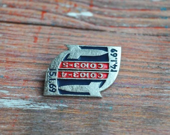 "Vintage Soviet Russian Space badge,pin.""Spacecraft Soyuz-3-4-5"""