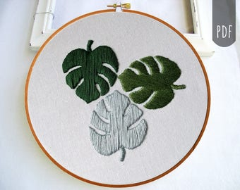 Beginner Embroidery Pattern Botanical Monstera Leaves Hand Embroidery PDF