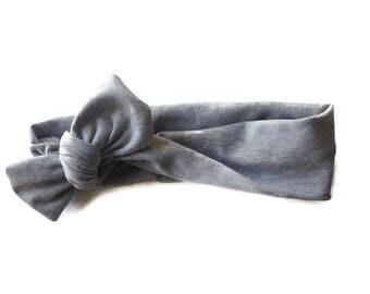 Gray Baby knotted Headbands / Baby turban Headbands / Baby Girl Head Wraps / Baby Headwrap / Headbands for Baby Girls / Baby Bow Headbands