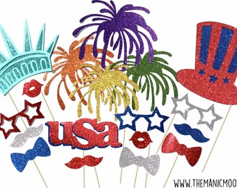 4th of July Photo Booth Props - DELUXE GLITTER 18 piece prop set - Birthdays, Weddings, Parties - Photobooth Props