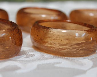 Vintage Apricot Colored Glass Napkin Rings set of 6