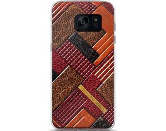 Art Deco, Faux Leather, Retro, Vintage, Brown, Tan, Black, Samsung Case