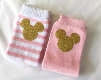 Minnie Mouse Pink or Pink and White Striped Childrens Legwarmers Baby legwarmers