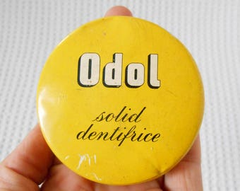 Bright Yellow Tin  Vintage Odol Solid Toothpaste Solid Dentifice  English Tin
