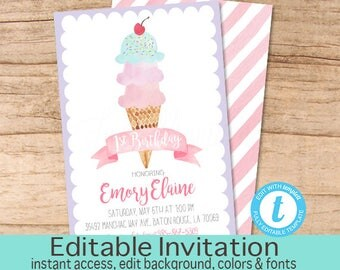 First Birthday Invitation, Ice Cream Birthday Invitation, Purple Ice Cream invitation, Editable Birthday Invitation, Instant Download