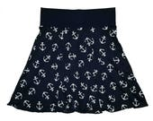 Nautical Skirt Women's Size Small 4 6 Anchors Lightweight Hippie Yoga Skirt Above the Knee Navy and White Floral Twinkle Skirts Twinklewear