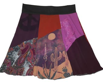 Plus Size Skirt 3X 4X Upcycled Hippie Cactus Skirt Women's recycled t-shirt clothing outdoors t-shirt skirt twinkle skirts twinklewear
