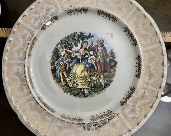 CROOKSVILLE China Co., U.S.A.  Gold-patterned china plate.  Five of them.
