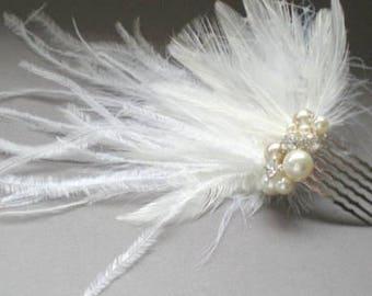 Bridal Ostrich Feather Comb. Perfect for Birdcage Bridal Veil. Fascinator. Chic Prom. Bridal Bandeau Veil Accent.  Blusher Bridal Veil Comb.
