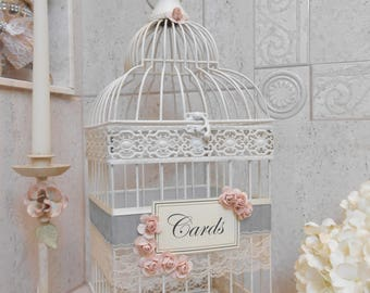 Medium Distressed Cream Wedding Birdcage Card Holder
