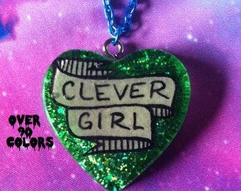Clever Girl Resin Necklace, Feminist, Velociraptor, Tumblr