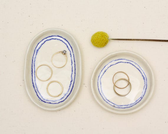 blue frame ring dish / trinket dish