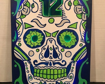 Seattle Seahawks Sugar Skull Sign