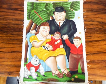Vintage Repro Fernando Botero Oil on Canvas Family Replica Painting by Del Pino, Fat Cat Art Female Male and Child, Columbian Reproduction