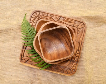 3 Wood Bowls, Tiki Style, Lot of 3 Carved Wood Bowls, Mismatched Tableware