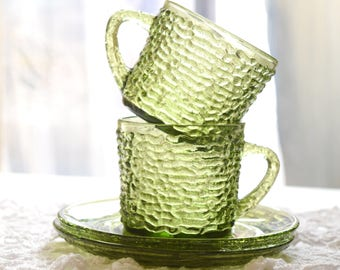 Two Cups and Saucers Anchor Hocking Soreno Pattern Clear Green Glass Tea Cup Set