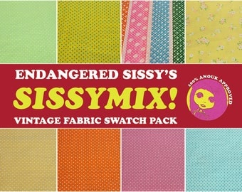 Sissymix Vintage Fabric Swatch Pack - flocked and dotted Swiss cotton VI - yellow, orange, pink, blue, green