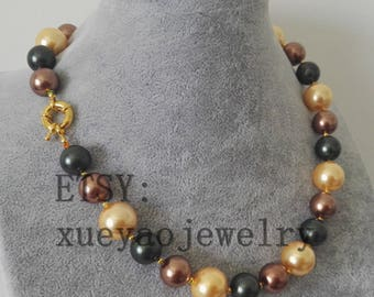 free shipping- 12-14 mm black brown & yellow multi-color shell pearl necklace
