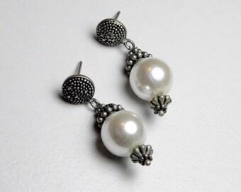 SALE Vintage Sterling Silver Art Nouveau Repro Style Faux Pearl Pierced Dangle Earrings