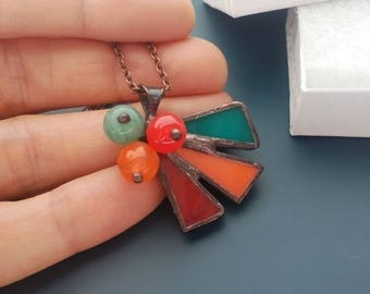 Stained glass jewelry, statement jewelry, multicolored necklace, art jewelry, gift for women, glass beaded pendant, Bird of paradise