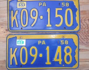 1958 PA metal license plates