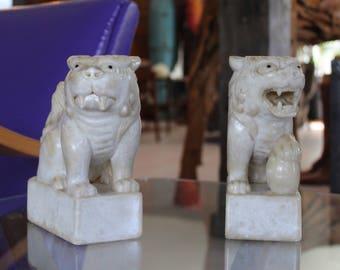Vintage Carved Stone Foo Dog Bookends