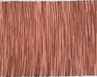 """Rag Rug - Hand-made - All Cotton - 31"""" x 49"""" - Orange with Neutrals"""