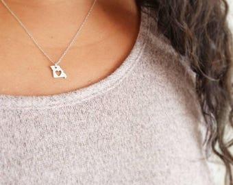 Missouri Necklace, I love missouri, heart necklace, State necklace, hand stamped missouri necklace, Mizzou, personalized jewelry