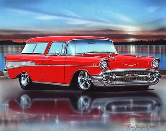 1957 Chevy Nomad Hot Rod Car Art Print with Color Options