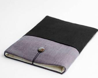 iPad Pro 9.7 case, iPad Pro 10.5 case, iPad Air 2 sleeve, grey with black pocket, minimalist