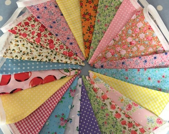 20ft Shabby chic cotton fabric bunting banner,fabric bunting,flag garland,Birthday party decoration,party bunting,playroom decor,baby shower