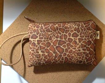 Natural CORK Wristlet - Giraffe Pattern - Vegan