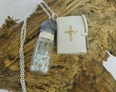 Psalm 56:8 vial and book pendants, tears in your bottle and recorded in your book necklace