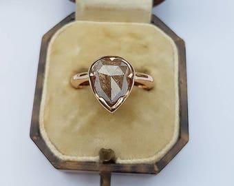 18ct Rose Gold Pink Rose Cut Diamond Ring