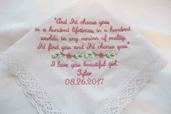 Wedding Handkerchief for the Bride from her Groom