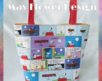 Snoopy and Friends Tote Bag / Charlie Brown Comic Bag / Peanuts Tote Bag