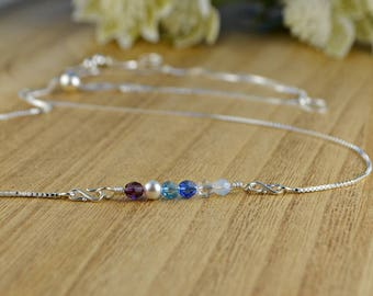 Any 1-6 Swarovski Crystal Birthstones Adjustable Sterling Silver Interchangeable Charm/Link Bolo Necklace- Charm, Bracelet Chain, or Both
