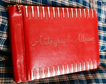 AUTOGRAPH ALBUM BOOK, 1969, vintage, collectible, red, hand writing, zipper, school