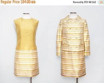 SALE 1960s Mod Suit / Vintage 60s Gold Striped Dress with Jacket / Large